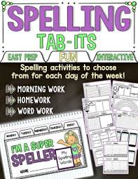 spelling tab its use with any spelling list by simply skilled