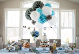 blue baby shower interior design view themed baby shower decorations style