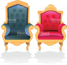 antique throne chairs for king and queen stock vector art