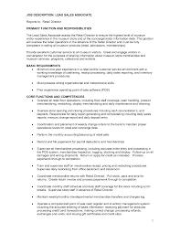 Retail Job Resume by Job Sales Associate Job Duties Resume