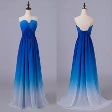 blue dresses royal blue gradient prom dresses u neck ombre prom dresses