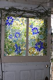 glass replacement for doors mosiac window made with broken colored glass and glass dots from