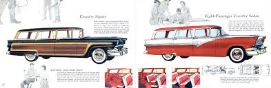 green station wagon with wood paneling 1956 ford stationwagons brochure