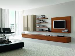 Wall Mount Tv Stand With Shelves Modern Brown Polished Wooden Tv Stand Combined With Brown Wooden