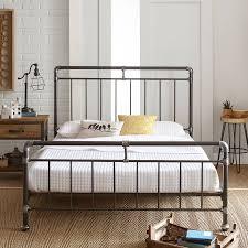 premier vintage pipeworks queen metal platform bed frame walmart com