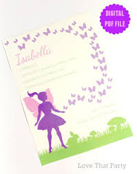 design printable fairy birthday invitation card with purple