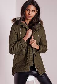 missguided canvas parka coat with faux fur hood khaki in green lyst
