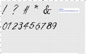 pattern and numbers cross stitch alphabet freestyle script font special characters and