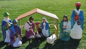 size outdoor nativity set with wooden stable yonder