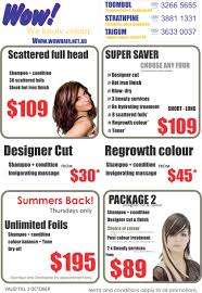 latest salon promotions flyer wow hairdresser taigum and strathpine