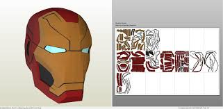 papercraft pdo file template for iron man mark 46 helmet