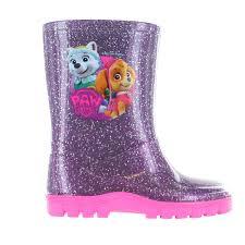 girls paw patrol glitter purple wellies wellington rain boots size