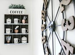 kitchen decor coffee station wall clock decor steals target shelf