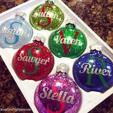 Home Made Christmas Decor Personalized Glitter Ornaments Glitter Ornaments Super Easy And