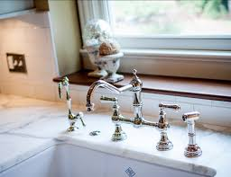 bridge kitchen faucet with side spray transitional family home with neutral interiors home bunch