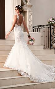 fit and flare wedding dress satin lace fit and flare wedding dress stella york wedding dresses