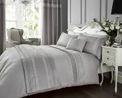 silver grey faux silk satin king size duvet cover u0026 pillowcase