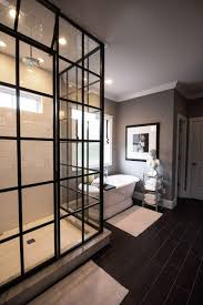 reasons to use black subway tile in bathroom wooden cabinet beside