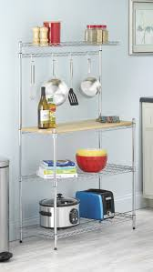 Wooden Bakers Rack Review Whitmor Supreme Kitchen Bakers Rack Wood U0026 Chrome Youtube