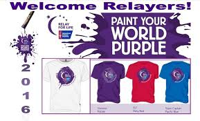 relay for life paint your world purple place mat 8 x 14