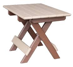 amish easy storing folding poly table