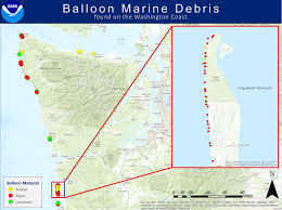 Washington Coast Map Balloon Marine Debris On The Washington Coast Noaa U0027s Marine