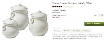 Williams Sonoma Tuscan Ceramic Canisters Set Of 3 White For