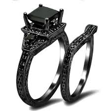 black gold wedding sets 2 01ct black princess cut diamond engagement ring wedding set 14k