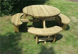 heavy duty round picnic table winchester treated 8 seater round picnic table bench wrg38g