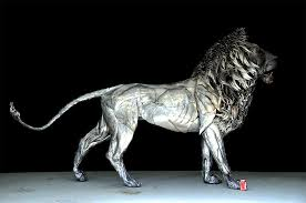 majestic lion sculpture made of 4 000 pieces of hammered scrap