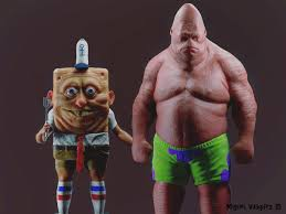 3d art of spongebob and patrick
