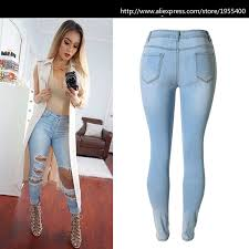 light blue skinny jeans womens high waist light blue skinny jeans women fashion hole hollow out