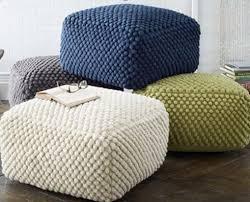 Crochet Ottoman Crochet Grey White Blue Green Pouf Ottoman Knit Stuffed