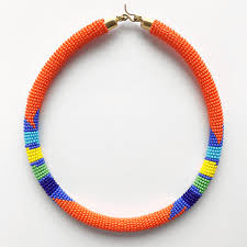 orange beads necklace images Zulu choker necklace exotic body beads png