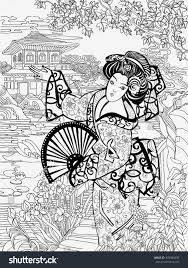 coloring pages japanese woman on background stock vector 478386550