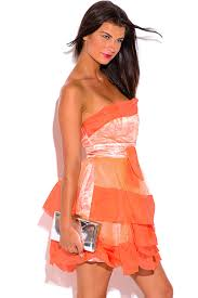 shop papaya orange organza ruffle strapless tafetta formal