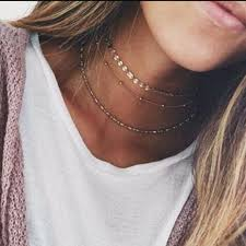 choker necklace layered images Dainty gold color chain layered choker necklace for women bijoux jpg