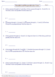 slope of a line worksheets parallel perpendicular and intersecting lines worksheets