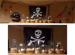 fun decorations for a pirate theme the jars are filled with sand