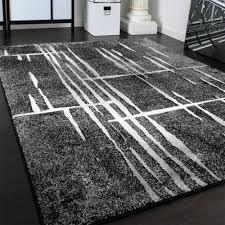 designer teppiche designer teppich modern trendiger kurzflor teppich in grau schwarz