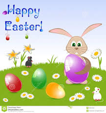 children u0027s card for easter with painted eggs and rabbit on floral