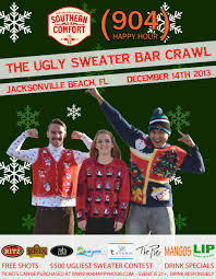 Southern Comfort Merchandise 904 Happy Hour Article Ugly Sweater Bar Crawl Saturday Info