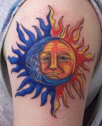 moon sun on shoulder tattoos moon sun