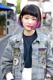 long bob with dipped ends hair pink purple japanese bob hairstyles rainbow hair pinterest