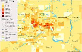Map Of Minneapolis Mn Minneapolis St Paul Poverty Map U2014 Visualizing Economics