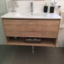 Timber Bathroom Vanity 750mm White Oak Textured Timber Wood Grain Bathroom Vanity