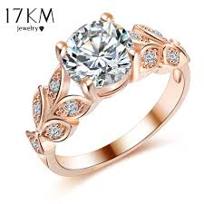 leaf engagement ring 17km new silver color leaf flower wedding rings for women lover