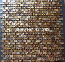 Hyrx Shell Mosaic Tiles Dyed Antique Gold ColorMother Of - Gold backsplash