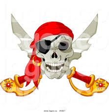 royalty free vector of a pirate skull and crossed swords logo by