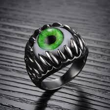 green opal rock punk cool man real stainless steel opal ring men u0027s big eyes green
